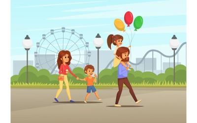 Vacanze in famiglia Cartoon 2 illustrazione vettoriale Concept