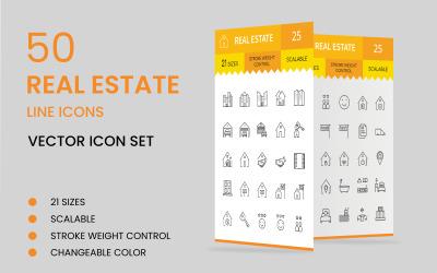 50 Modelo de conjunto de ícones de linha imobiliária