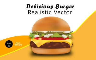 Delicious Burger Realistic Vector