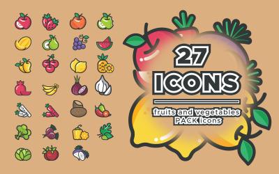 Ícones do pacote de frutas e vegetais