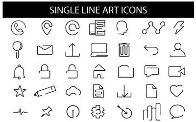 Modelo de ícones de arte de linha única