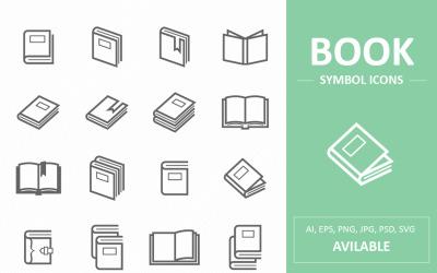 Livro e ícones de linha de símbolo de leitura