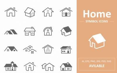 Huis en huis symbool lijn pictogrammen