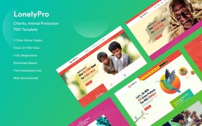 LonelyPro - Charity And Animal Protection PSD Template