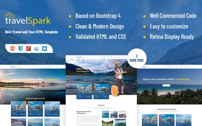 Travelspark - Travel & Tour Agency HTML5 Landing Page Template