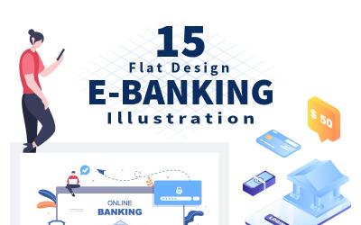 15 Ilustração de aplicativo de banco eletrônico, carteiras ou cartões de crédito bancário