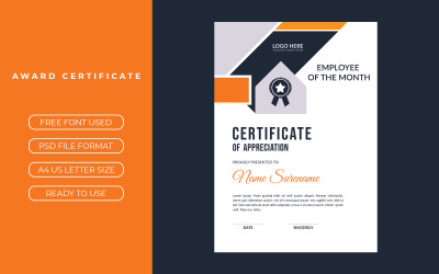 Modèle de certificat avec des accents orange et noir