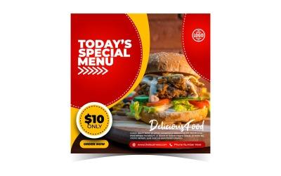 Special Delicious Burger en Fast Food Menu Design Social Media