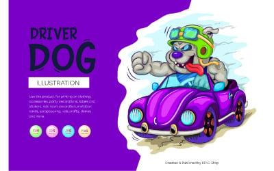 Cartoon-Hundefahrer. JPG, PNG, SVG.