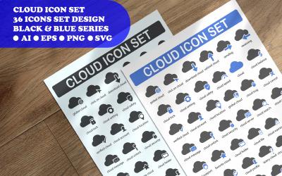Modelo de conjunto de ícones de conceito de ícone de nuvem