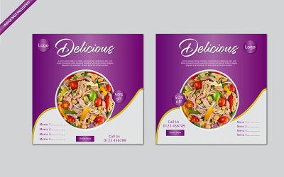 Социальные медиа продвижение еды пост баннер Векторный дизайн