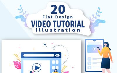 20 oktatóvideó, háttér vektoros illusztráció