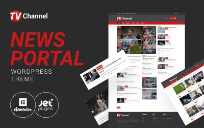 TVChannel - portal informacyjny Nowoczesny motyw WordPress Elementor