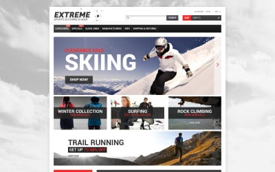 Reaktionssichere ZenCart-Vorlage für Extremsportarten