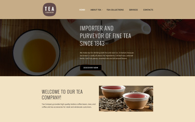 Szablon strony internetowej firmy herbacianej