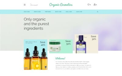 Organische cosmetica OpenCart-sjabloon