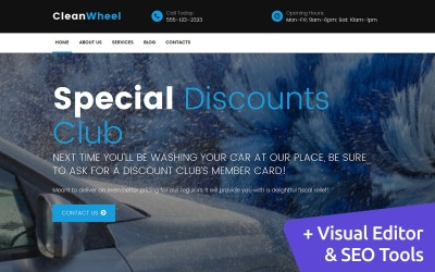 CleanWheel - Car Wash Moto CMS 3 Template