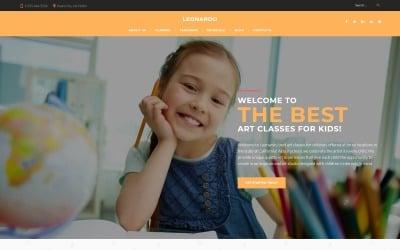 Leonardo művészeti iskola gyermekeknek WordPress téma