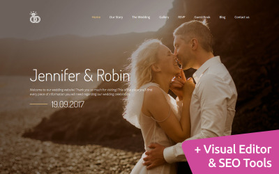 Jennifer & Robin - Wedding Premium Moto CMS 3 Template