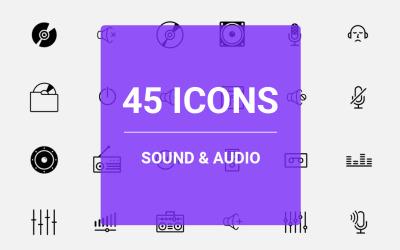 Set di icone audio e audio