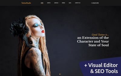 TattooStudio - Artist Studio Moto CMS 3 Template