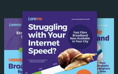 PSD шаблон флаера Интернет-широкополосного доступа