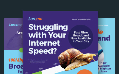 Szablon PSD ulotki szerokopasmowego Internetu