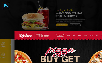 Cafehouse - Modelo PSD de eCommerce para pedidos on-line de alimentos
