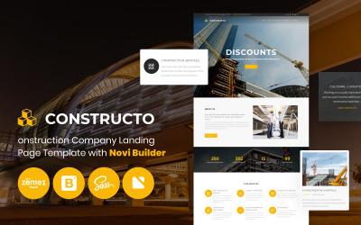 Constructo - stavební společnost s šablonou úvodní stránky Novi Builder