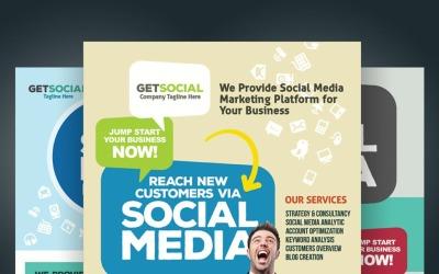Sociala medier marknadsföring reklamblad PSD mall
