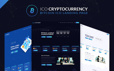 Šablona stránky pro přistání bitcoinu v bitcoinu ICO