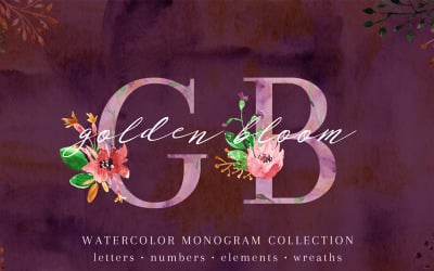 Golden Bloom - Monogram - Illustration