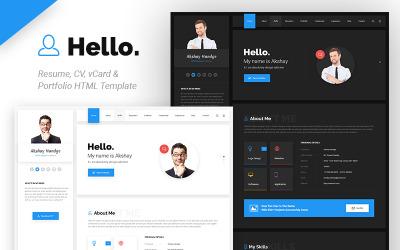 Hello Resume - CV, vCard & Portfolio HTML Website Template