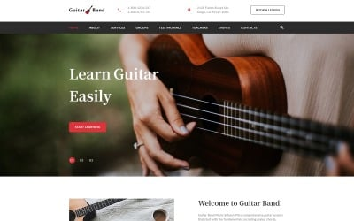 Guitar Band - Cool Music School HTML Landing Page Szablon