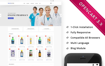 Responsive OpenCart-Vorlage für den Medizingeschäft