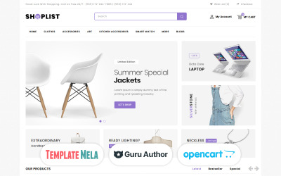 Liste de boutique - Modèle OpenCart de Mega Store