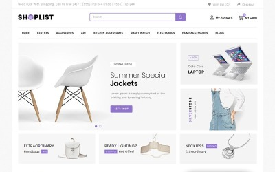 Shoplist - Mega Store OpenCart-sjabloon