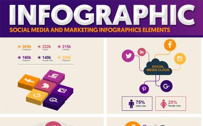 Mídia social e elementos de marketing do pacote infográfico
