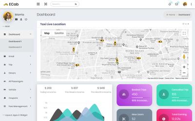 ECab - Taxi Admin Bootstrap 4 Material Admin Template