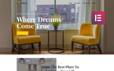 Dwellom - тема WordPress Elementor Hotel Clean