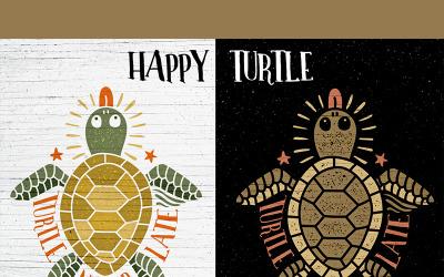Boldog teknős - illusztráció