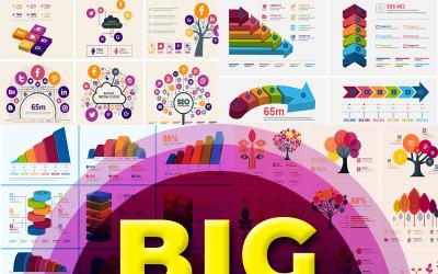 Pakiet infografiki | Ponad 900 elementów wektorowych