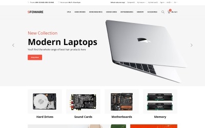 Sfoware - počítačový obchod, vícestránková čistá šablona OpenCart