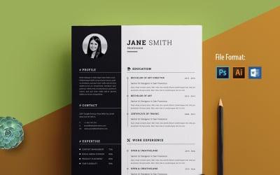 Modello di curriculum di Jane Smith pulito e creativo