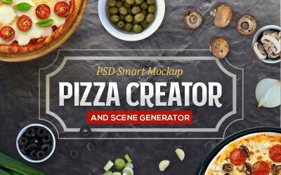 Criador de pizza e maquete de produto de cena