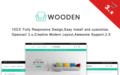 Wooden - Furniture OpenCart Template
