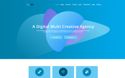 CroWD - Modelo PSD de agência criativa multifuncional de uma página