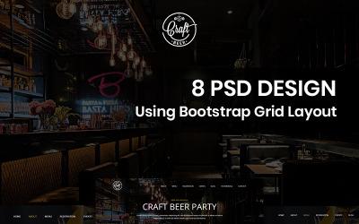 Bière artisanale - Modèle PSD de pub à bière