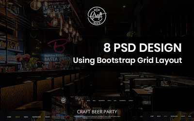 Cerveja artesanal - modelo PSD de pub de cerveja