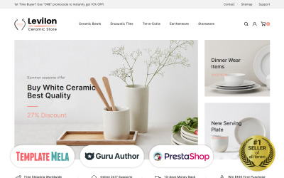 Levilon - Tema PrestaShop de cerâmica e artesanato